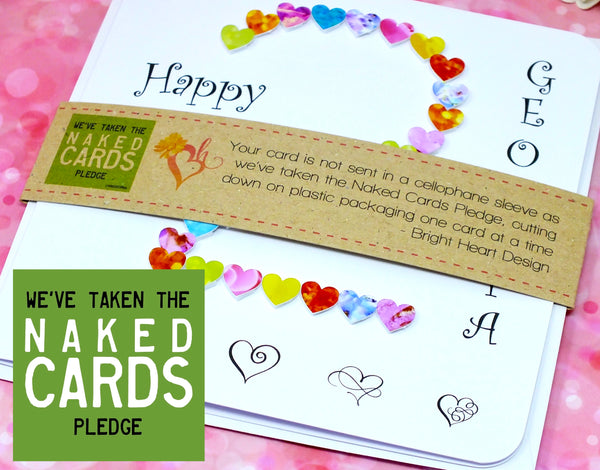 2nd Birthday Card - Hearts, Personalised + Band
