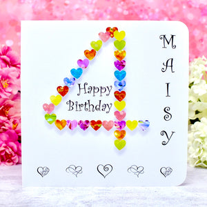 4th Birthday Card - Hearts, Personalised Main