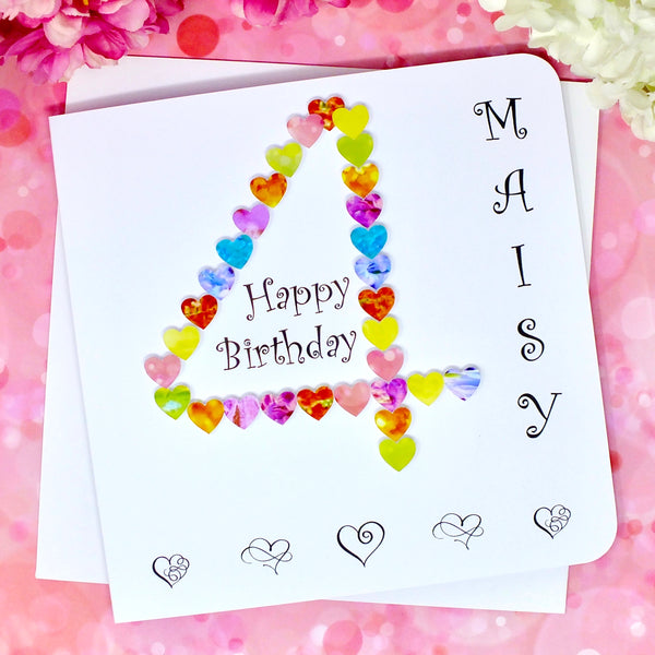 4th Birthday Card - Hearts, Personalised Front