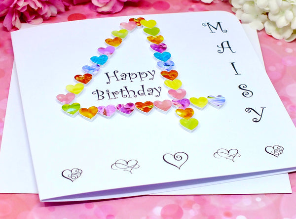 4th Birthday Card - Hearts, Personalised Alternate View