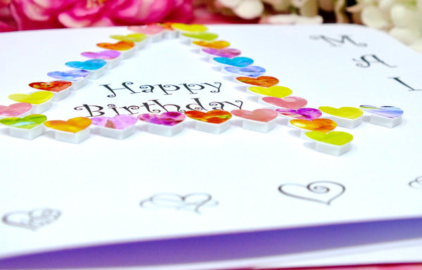 4th Birthday Card - Hearts, Personalised Close Up