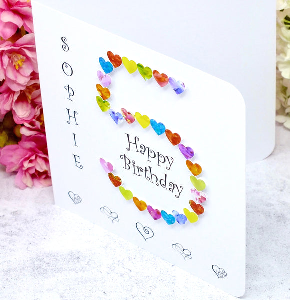 Age 5 Birthday Card - Hearts, Personalised