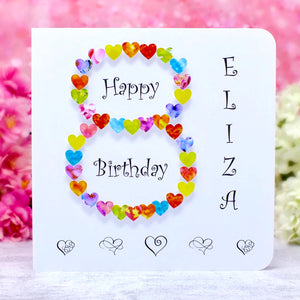 8th Birthday Card - Hearts, Personalised Main