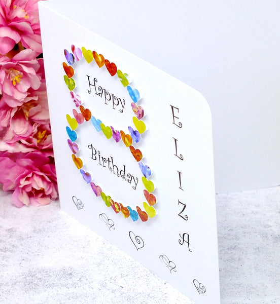 Age 8 Birthday Card - Hearts, Personalised