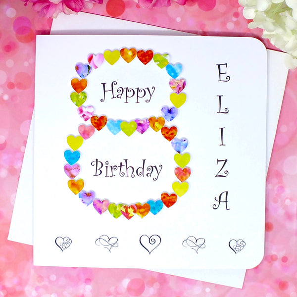 8th Birthday Card - Hearts, Personalised Front