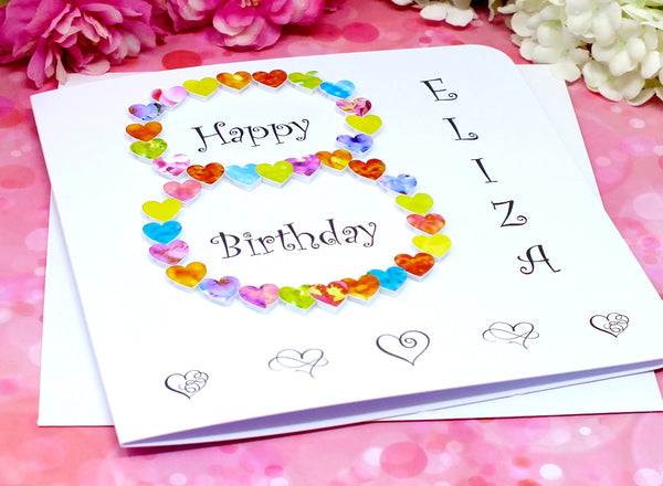 8th Birthday Card - Hearts, Personalised Alternate View