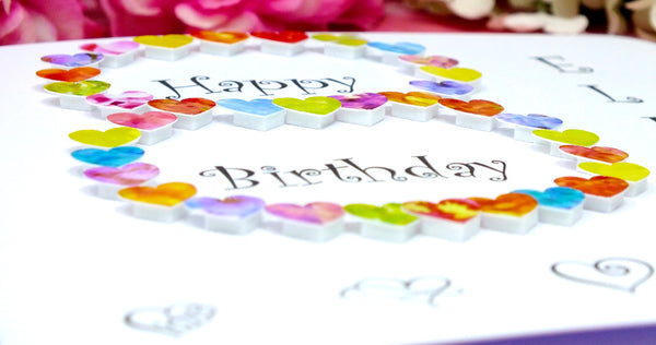 8th Birthday Card - Hearts, Personalised Close Up
