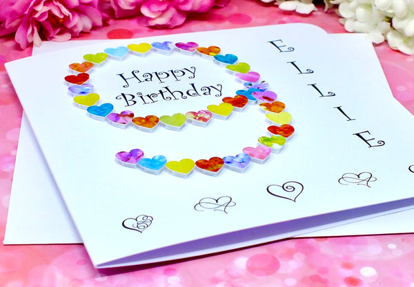 Age 9 Birthday Card - Hearts, Personalised