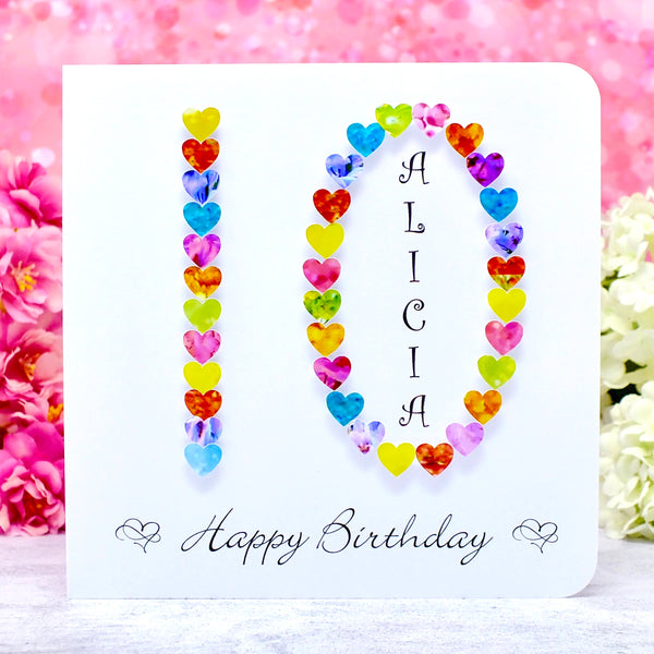 Age 10 Birthday Card - Hearts, Personalised