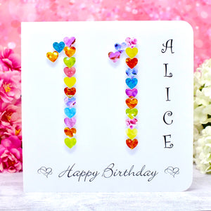 11th Birthday Card - Hearts, Personalised Main