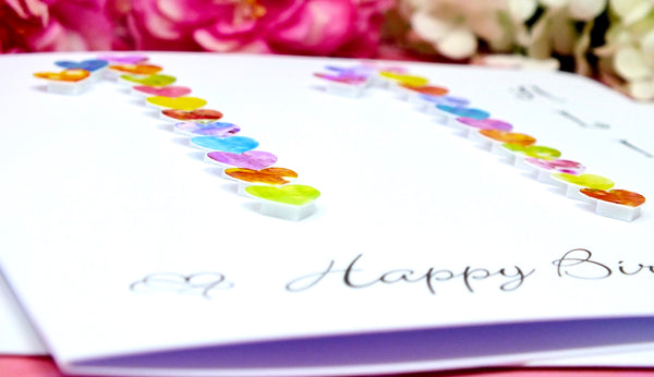11th Birthday Card - Hearts, Personalised Close Up