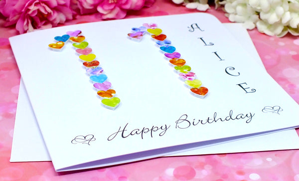 11th Birthday Card - Hearts, Personalised Alternate View