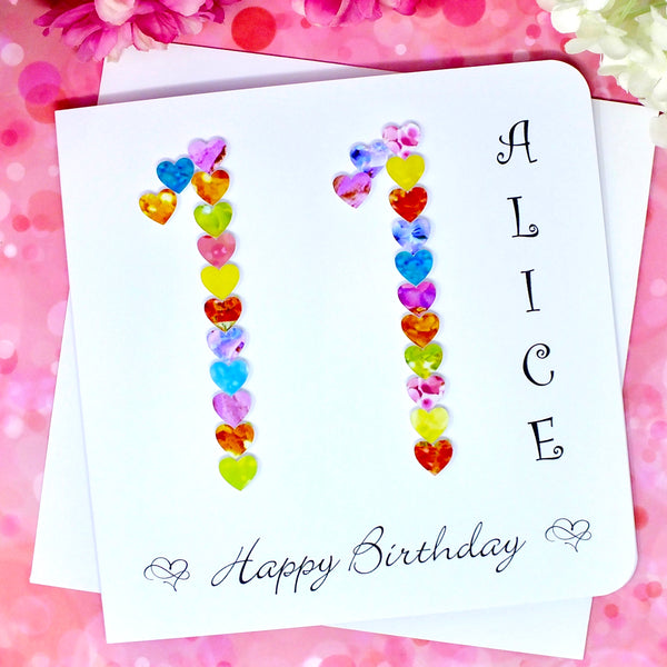 11th Birthday Card - Hearts, Personalised Front View