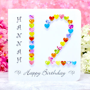 Age 12 Birthday Card - Hearts, Personalised