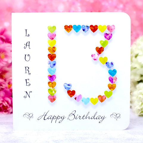 13th Birthday Card - Hearts, Personalised