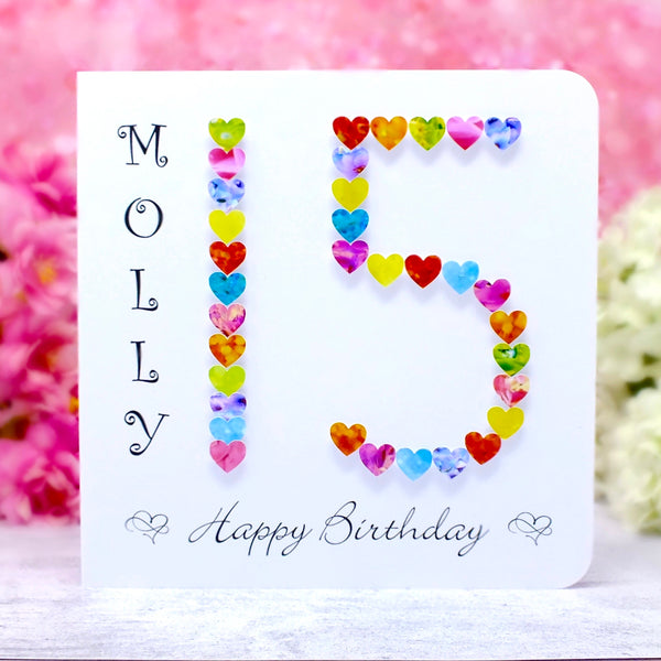 Age 15 Birthday Card - Hearts, Personalised