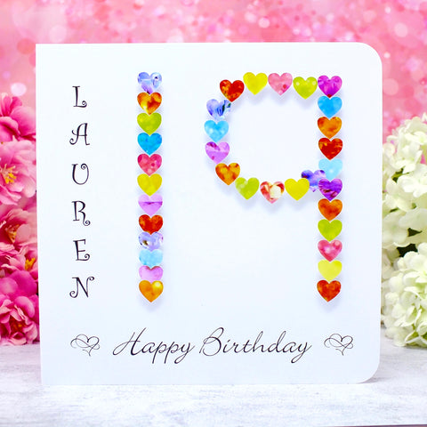 19th Birthday Card - Hearts, Personalised