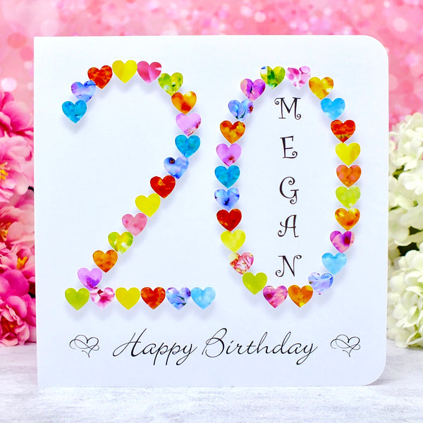 20th Birthday Card - Hearts, Personalised Main