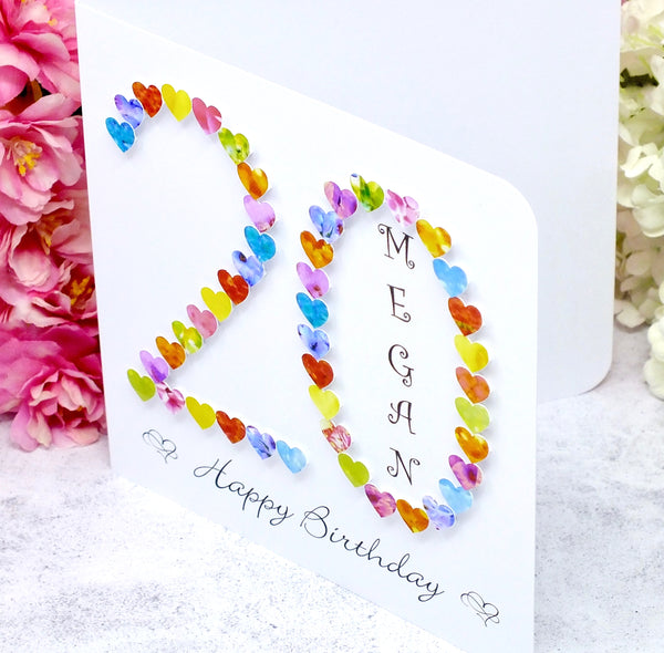 20th Birthday Card - Hearts, Personalised Side