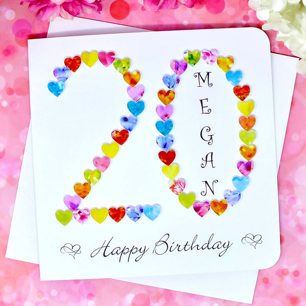 20th Birthday Card - Hearts, Personalised Front