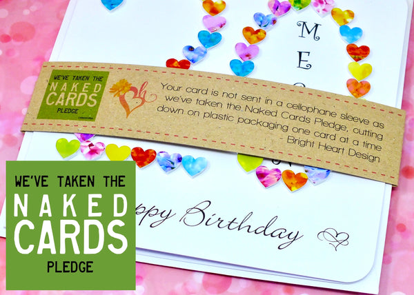 20th Birthday Card - Hearts, Personalised + Band