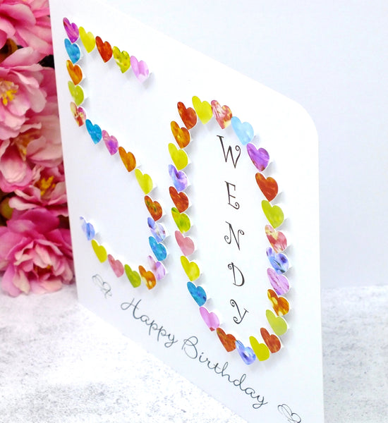 50th Birthday Card - Hearts, Personalised Side