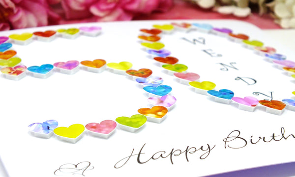 50th Birthday Card - Hearts, Personalised Close Up