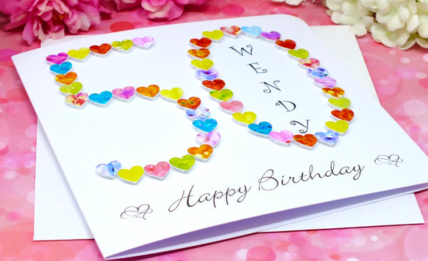 Age 50 Birthday Card - Hearts, Personalised