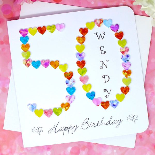50th Birthday Card - Hearts, Personalised Front