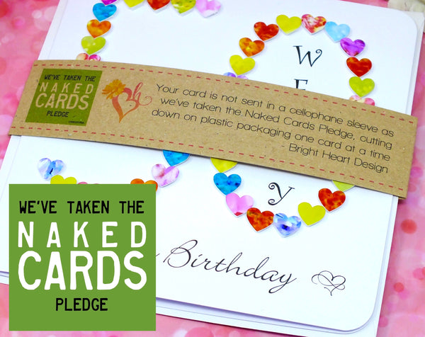 50th Birthday Card - Hearts, Personalised + Band