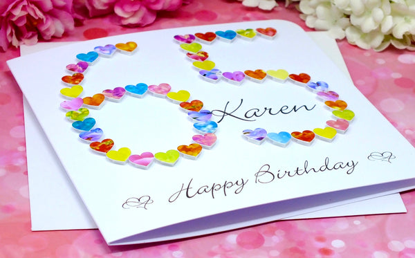 Age 65 Birthday Card - Hearts, Personalised