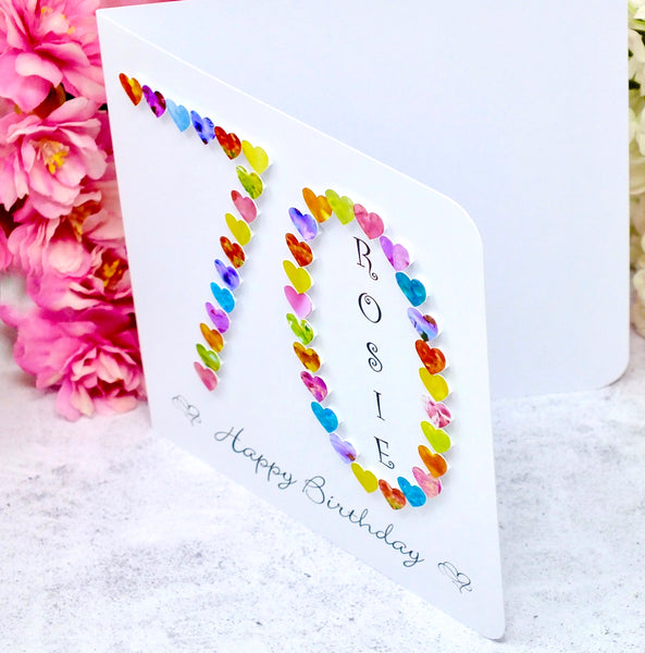Age 70 Birthday Card - Hearts, Personalised