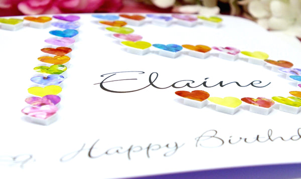 75th Birthday Card - Hearts, Personalised Close Up B