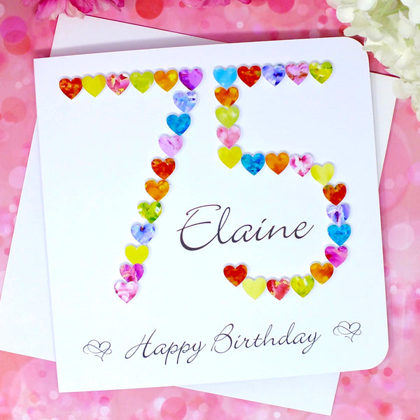 75th Birthday Card - Hearts, Personalised Front
