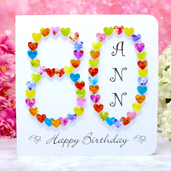 Age 80 Birthday Card - Hearts, Personalised