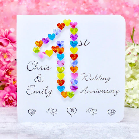 1st Wedding Anniversary Card - Hearts, Personalised