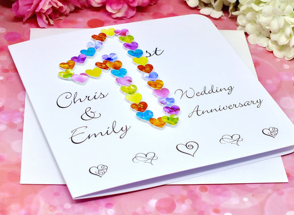 1st Wedding Anniversary Card - Hearts, Personalised Alternate View