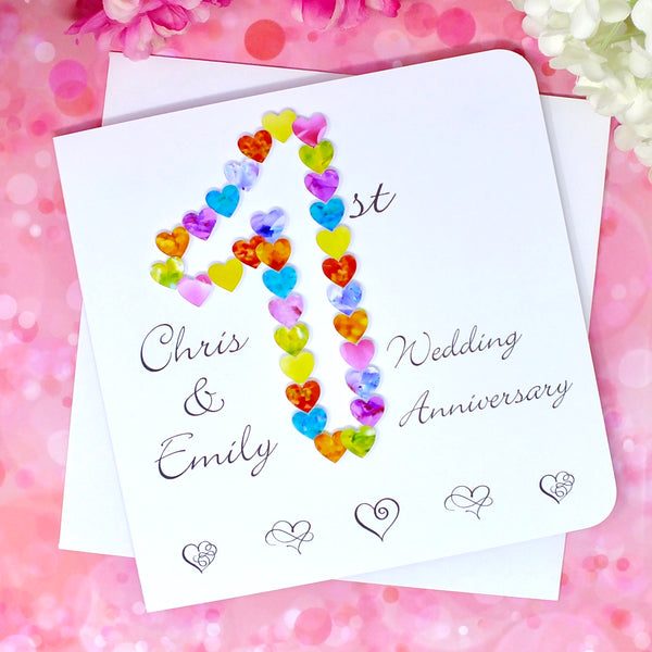 1st Wedding Anniversary Card - Hearts, Personalised Front