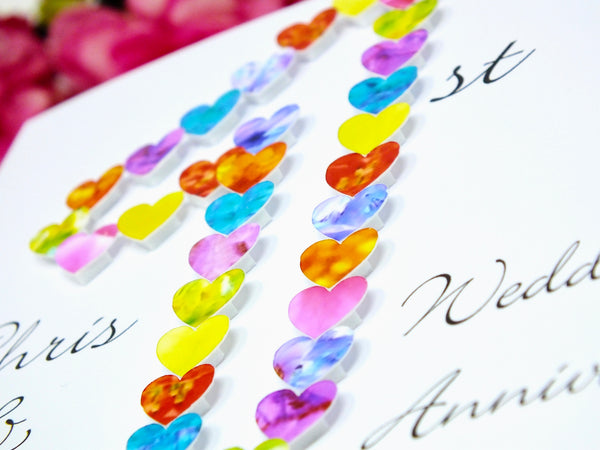 1st Wedding Anniversary Card - Hearts, Personalised Close Up
