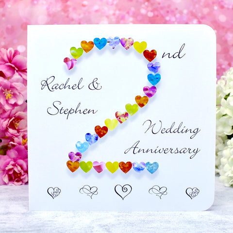 2nd Wedding Anniversary Card - Hearts, Personalised