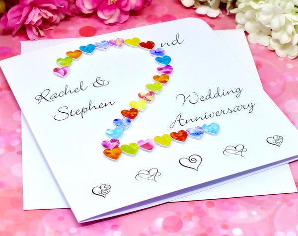2nd Wedding Anniversary Card - Hearts, Personalised alternate view