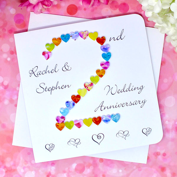 2nd Wedding Anniversary Card - Hearts, Personalised front