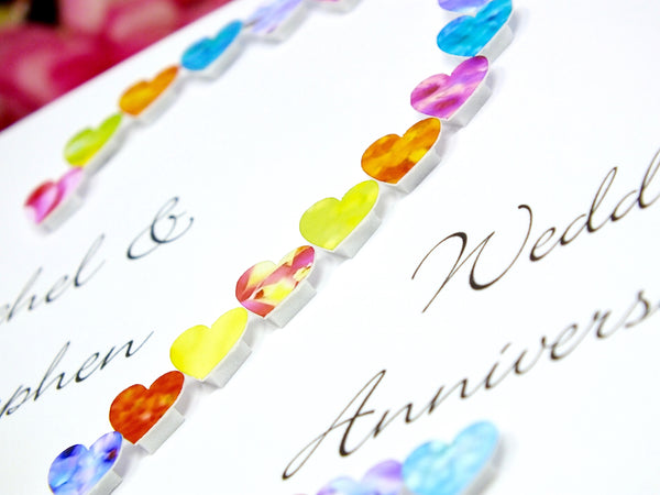 2nd Wedding Anniversary Card - Hearts, Personalised close up