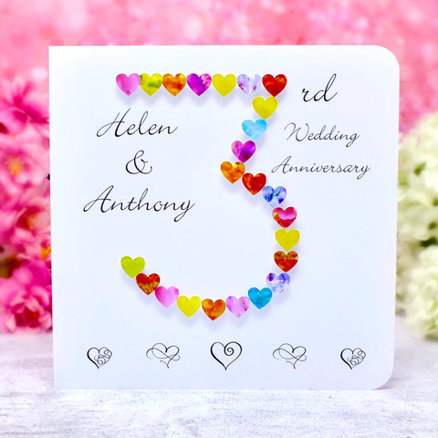 3rd Wedding Anniversary Card - Hearts, Personalised