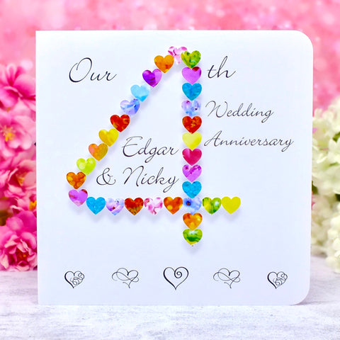 4th Wedding Anniversary Card - Hearts, Personalised