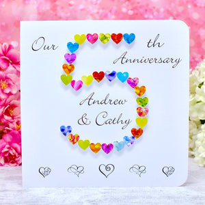 5th Wedding Anniversary Card - Hearts, Personalised