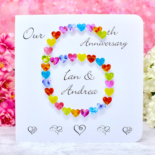 6th Wedding Anniversary Card - Hearts, Personalised