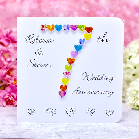 7th Wedding Anniversary Card - Hearts, Personalised