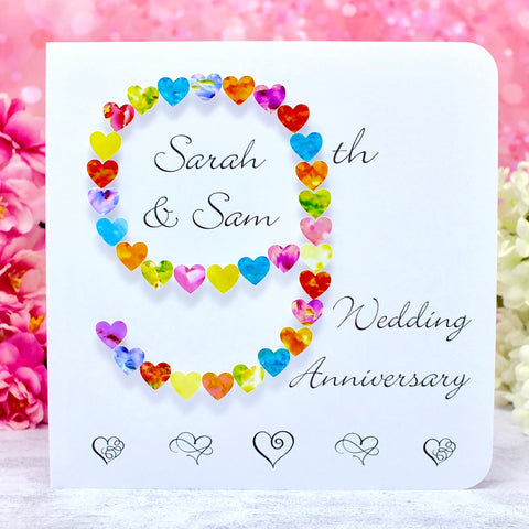 9th Wedding Anniversary Card - Hearts, Personalised