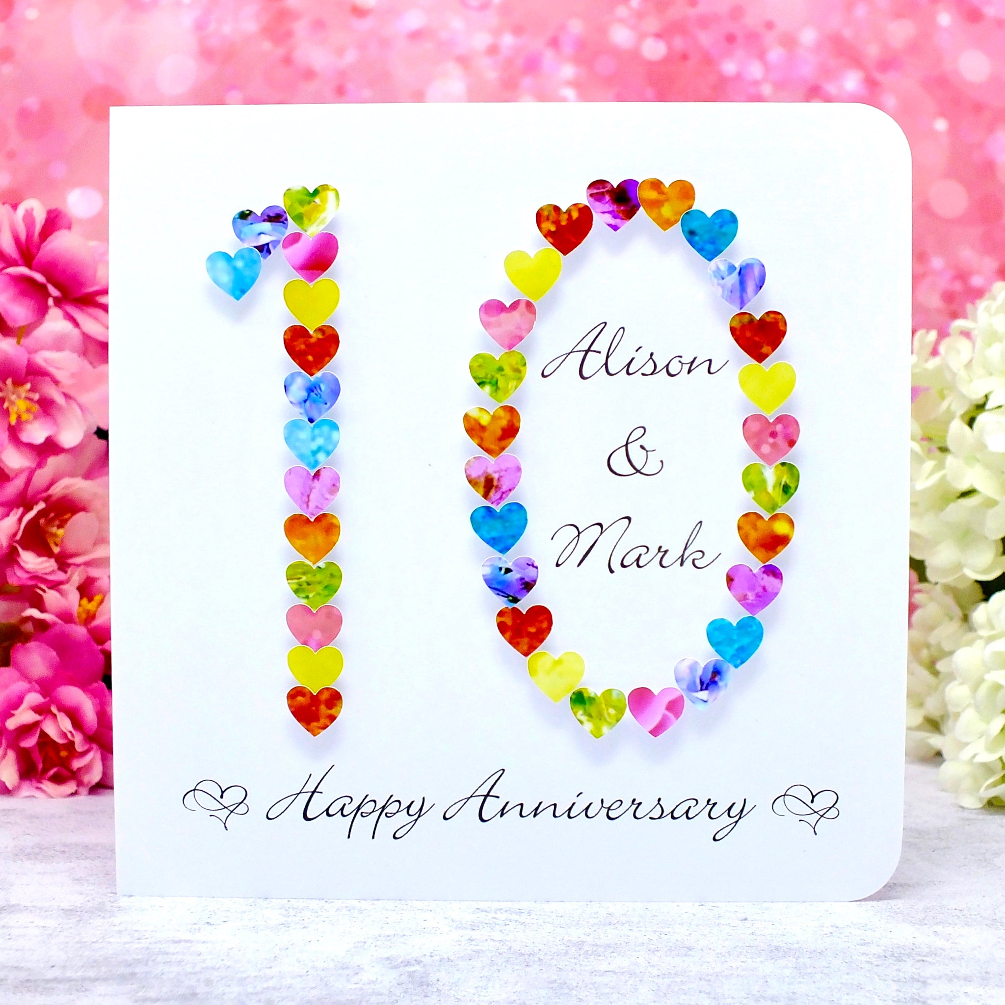 10th Wedding Anniversary Card - Hearts, Personalised Main